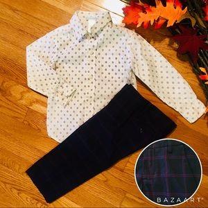 Janie & Jack Button Down & Plaid Pants Outfit